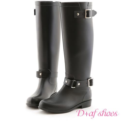 雨靴 D+AF 經典首選.雙釦環後拉鍊質感長筒雨靴*黑