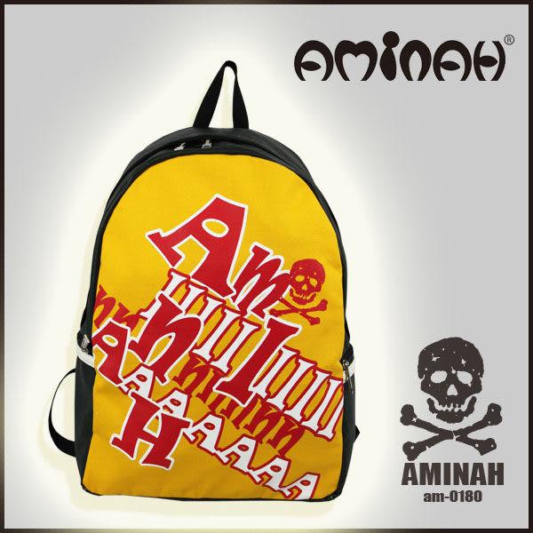 美式風格 骷髏頭 字母後背包 黃配紅 AMINAH~【am-0180】