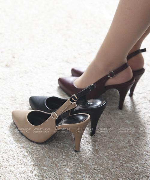 【2wenty6ix】★ 正韓 ★ Enzo Heel 時尚優雅 流線型皮革 後扣帶 顯瘦修身 尖頭高跟鞋