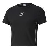 PUMA 短T CLASSICS T7 黑 小LOGO 短版 基本款 運動 上衣 女 (布魯克林) 59763101
