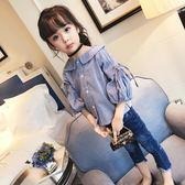 2018新款女童襯衫長袖棉小衫小童上衣娃娃衫