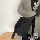 暗黑系尼龍帆布斜背包男女學生日系休閒純色極簡大容量單肩購物袋【果果新品】
