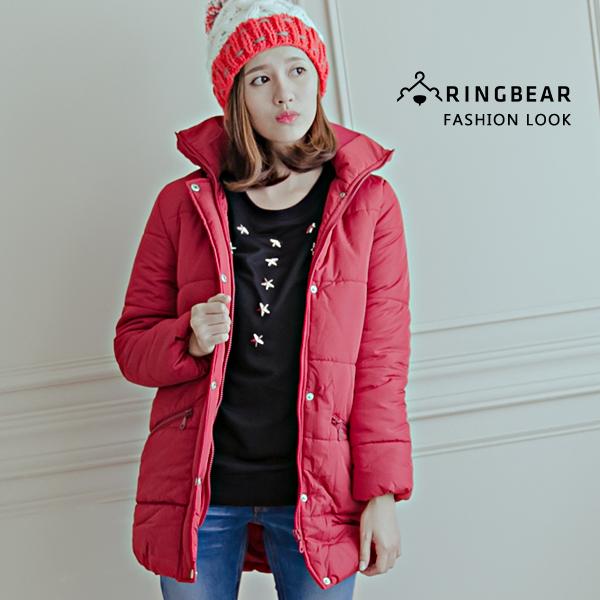 質感保暖大衣--俐落保暖立領鋪厚棉蜜桃絨長版外套(黑.紅XL-5L)-J291眼圈熊中大尺碼◎