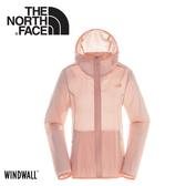 【The North Face 女 WindWall防風防潑連帽輕量外套《粉橘》】3CJA/抗UV防曬/運動夾克/風衣