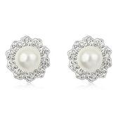 珍珠耳環 925純銀(耳針式)-精美鑲鑽生日情人節禮物女飾品3色73bd120[時尚巴黎]