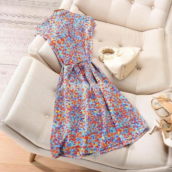 交叉V領無袖繫帶收腰顯瘦連衣裙女2021夏季新款修身大碼裙 快速出貨