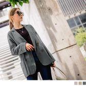 《EA2708-》高含棉雙排釦寬鬆薄長袖西裝外套 OB嚴選