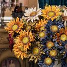 618大促知根 13頭油畫仿真向日葵花束 歐式假花絹花裝飾花客廳擺放花卉