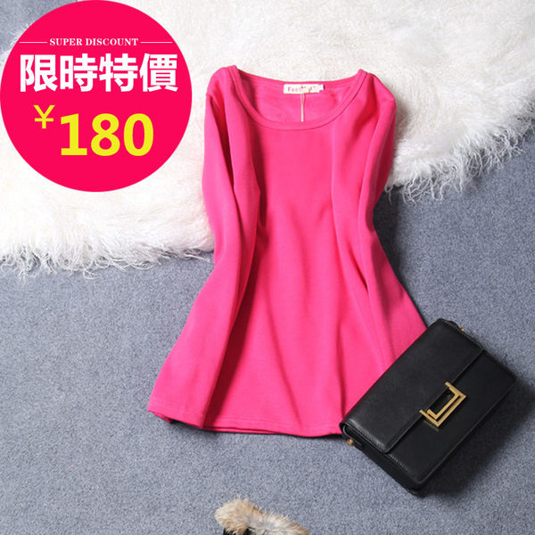 T恤【635】Feelnet中大尺碼女裝春裝新款打底衫長袖t恤上衣