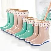 防水雨鞋雨鞋女款加絨保暖鞋四季時尚防水鞋防滑高中筒棉鞋下雨靴膠鞋【快速出貨八折下殺】