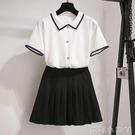 學院風洋裝套裝女2021年新款小清新短袖上衣百褶短裙兩件套洋氣 蘿莉新品