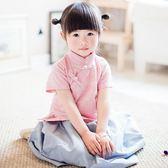 2018新款兒童漢服女童裙子短袖童裝寶寶唐裝民國風復古演出服古裝