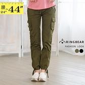 加大尺碼--百搭萬用多立體口袋抽繩中低腰直筒工作褲/休閒褲(黑.軍綠M-3L)-P16眼圈熊中大尺碼