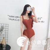 連體泳衣-韓國新款吊帶連體游泳衣性感顯瘦鋼托聚攏泳裝女-奇幻樂園