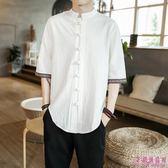 亞麻 男 短袖 盤扣 棉麻 立領 襯衫 寬鬆 男 七分袖 襯衣 polo衫