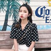 (TT-2945)V領點點短袖襯衫女學生寬鬆百搭chic風短袖上衣