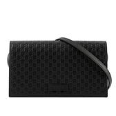 【GUCCI】Guccissima壓紋牛皮皮夾式手拿/斜背包(黑色) 466507 BMJ1G 1000