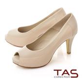 TAS異材質拼接素面壓紋魚口高跟鞋-質感膚