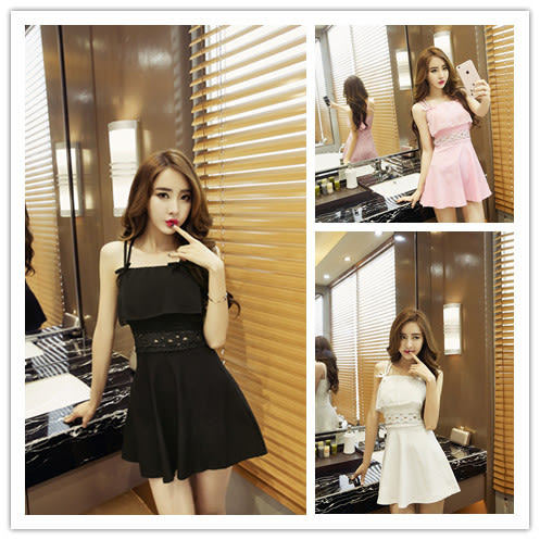 洋裝9125#模特實拍夏季新款韓版時尚甜美吊帶荷葉邊顯瘦連身裙禮服GT5F-538-B韓依戀