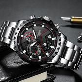 精鋼時尚男士手錶運動防水夜光石英錶非機械錶 i萬客居