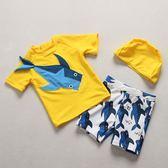韓國ins夏新款男童分體鯊魚泳裝兒童短袖泳衣褲套裝韓嬰兒沖浪服