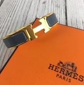 BRAND楓月 HERMES 愛馬仕 灰藍 金 琺瑯 H 手環 手圈 拚色 H字頭 金屬 LOGO 經典造型 奢華質感
