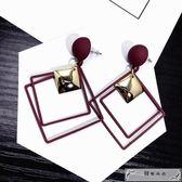 韓國長款方框幾何亮片吊墜耳環女復古氣質吊墜耳墜潮人耳釘耳飾品