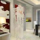 屏風隔斷玄關時尚客廳白色雕花摺疊屏風店鋪櫥窗背景鏤空 現貨快出