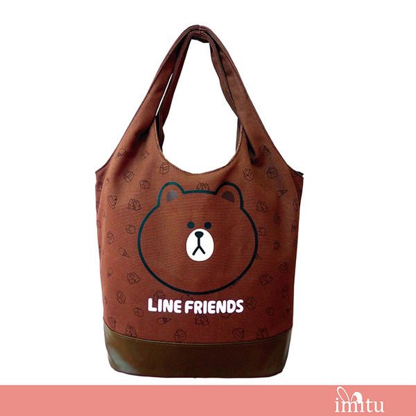 imitu 【LINE FRIENDS】MIT 俏麗背袋(A款_咖_無辜熊大)_OO