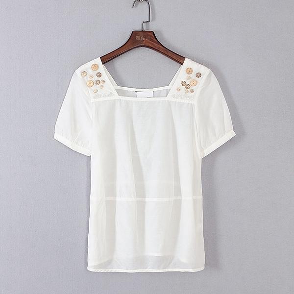 [超豐國際]帛春夏裝女裝白色舒適森女風寬松T恤 40208(1入)