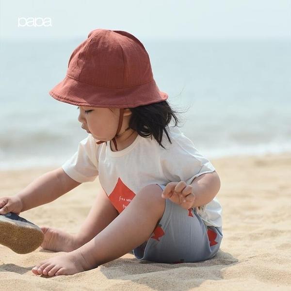 papa爬爬春夏純棉男女寶寶漁夫帽嬰兒純色遮陽帽子42-50cm
