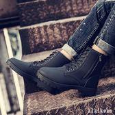 中大尺碼馬丁靴 男英倫短靴春季雪地靴男靴子沙漠靴高幫工裝皮靴男 DR11312【KIKIKOKO】