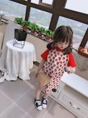 兒童短袖 2020夏季童裝中小童草莓童裙 女童兒童短袖T恤圓領撞色兒童連衣裙【父親節秒殺】