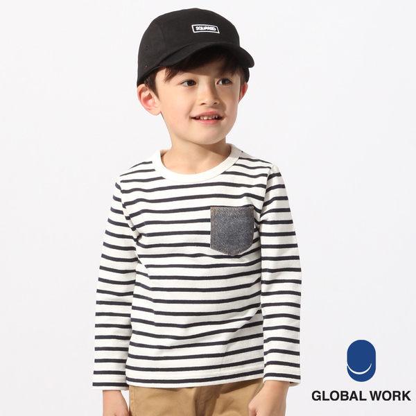 GLOBAL WORK童條紋圓領純棉拼接牛仔口袋長袖T恤上衣-三色