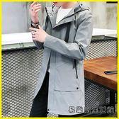 風衣外套 風衣男韓版中長款加厚外套男士夾克