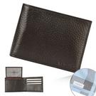 Calvin Klein荔枝紋皮革可拆式證件RFID防盜短夾禮盒(咖啡色/送帕巾)103018-1