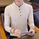 長袖男立領t恤潮秋裝男士純棉體恤2019新款中國風純色POLO衫汗衫 露露日記