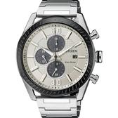 CITIZEN 星辰光動能渦輪時尚計時手錶-銀x黑圈/43mm CA0669-84A