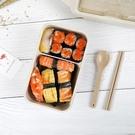 便當盒日式小麥稈密封飯盒單層微波爐可加熱便當盒輕便成人學生分格餐盒【快速出貨八折下殺】
