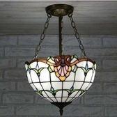 設計師美術精品館廠家直銷蒂凡尼玻璃燈飾 歐式簡約巴洛克反吊燈 客廳餐廳飯廳吊燈