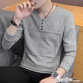 2019新款韓版男士春秋季修身長袖T恤打底衫上衣衛衣男裝針織衫潮 西城故事