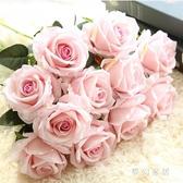 仿真玫瑰花套裝高檔客廳餐桌飾花束擺件擺設花藝 QW5875『夢幻家居』