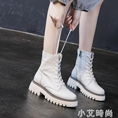 歐洲站街拍牛皮短靴2020夏秋新款女靴子厚底真皮女單靴中跟涼靴女【小艾新品】