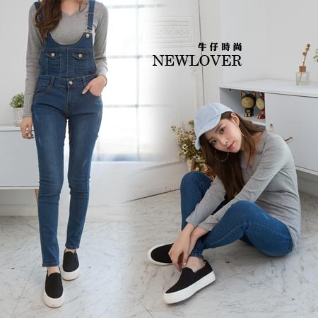 吊帶褲兩穿式可拆NEWLOVER牛仔時尚【166-6966】復古藍微刷破兩穿式吊帶褲M-L