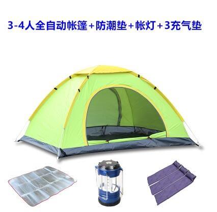 熊孩子❃2秒速開帳篷戶外帳篷自動雙人多人露營野營雙門帳篷(3-4人綠+鋁墊+馬燈+3充氣墊)