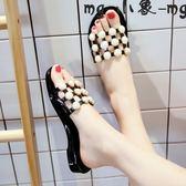 外穿拖鞋 士涼拖鞋時尚拖鞋外穿韓版平跟室外一字拖平底