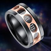 超個性霸氣潮人羅馬轉動黑色金色鈦鋼戒指男士指環歐美食指-Ifashion