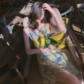 碎花裙 小雛菊雪紡吊帶碎花甜美洋裝子女2020年新款夏季法式小眾初戀裙