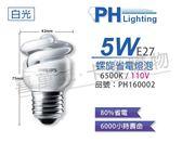 PHILIPS飛利浦 5W 110V 865 6500K 白光 麗晶 省電螺旋燈管_ PH160002