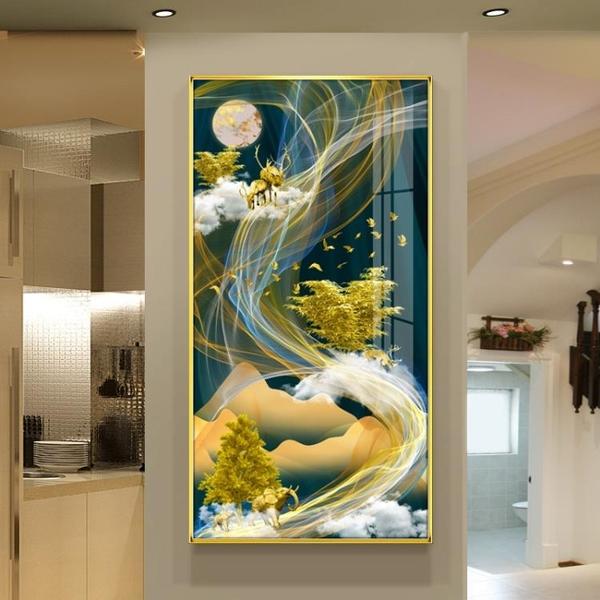 招財鹿北歐輕奢晶瓷畫入戶客廳裝飾畫豎走廊玄關掛畫過道背景壁畫MBS「時尚彩紅屋」